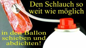 Auffüllen von Luftballons mit der Ballongasdose